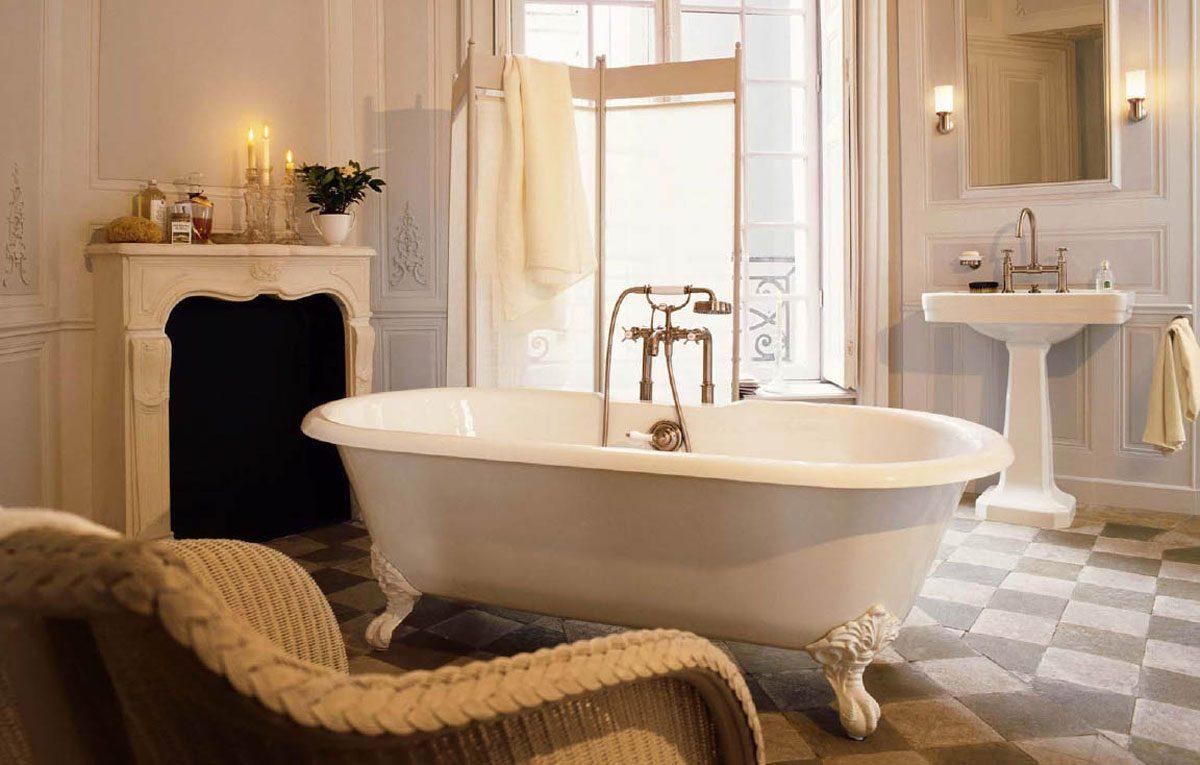 Baño con bañera vintage :: Imágenes y fotos