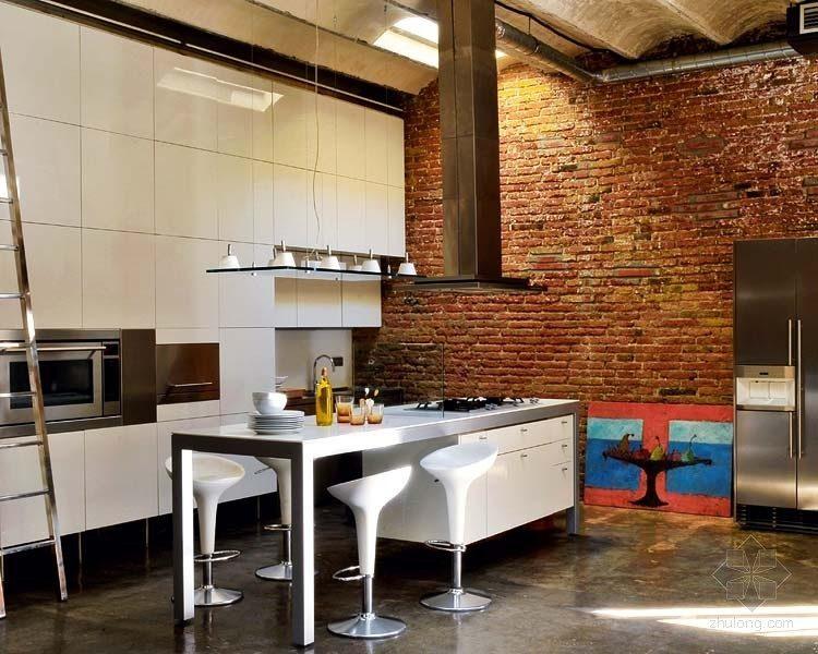 Cocina con isla de estilo industrial im genes y fotos for Cocinas industriales siglo